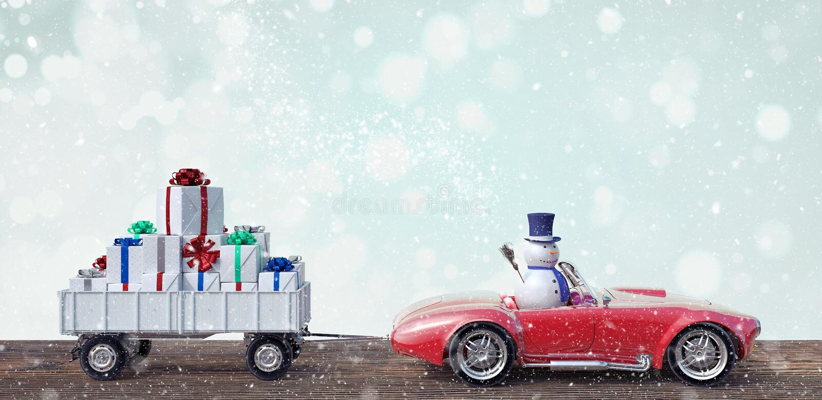 Snowman in Red Car Carrying Christmas Gifts 3d render stock illustration