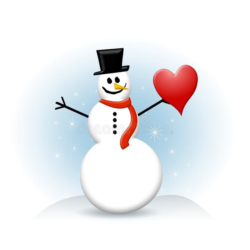 Snowman With Red Heart Stock Photos