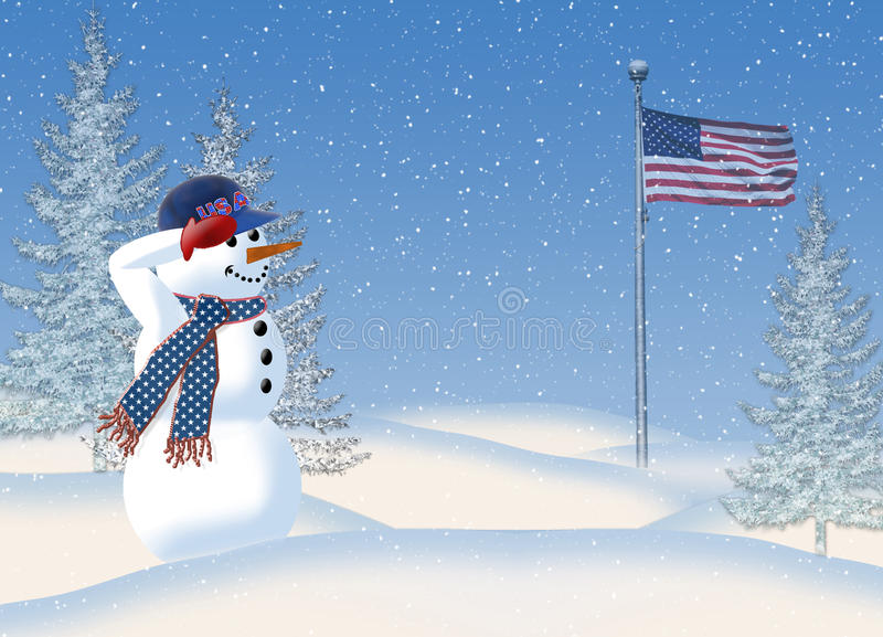 Snowman Saluting American Flag stock illustration