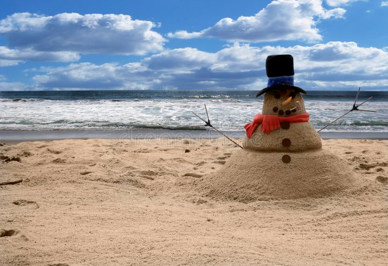Snowman Sandman Beach Scene (Add Family For Portraits) royalty free stock photos