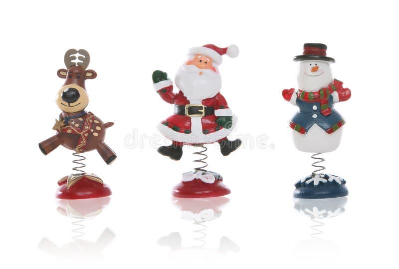 Snowman, Santa, and Reindeer stock photo