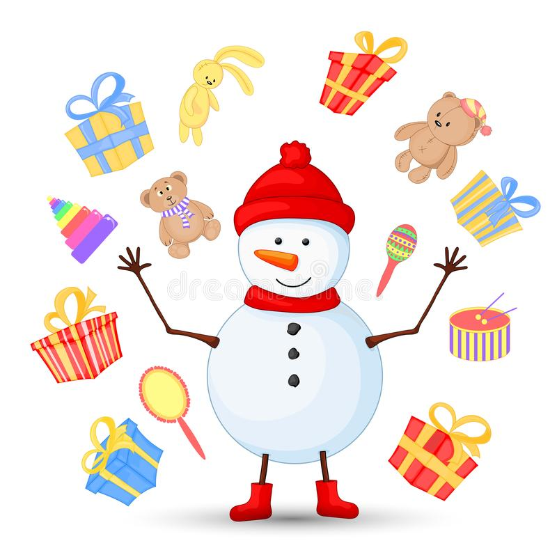 Snowman in scarf, boots, mittens, and a hat. postcard for the new year and Christmas. Isolated objects on white royalty free illustration