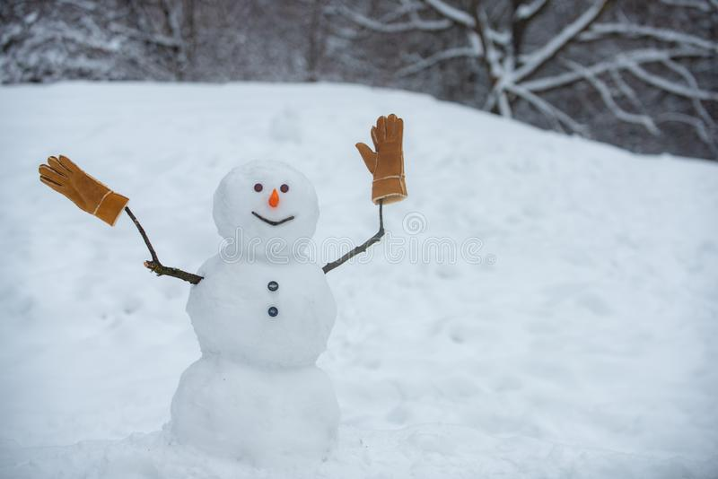 Snowman in a scarf and hat. Greeting snowman. Cute snowmen standing in winter Christmas landscape. The morning before. Christmas. Happy winter time. Cute little stock images