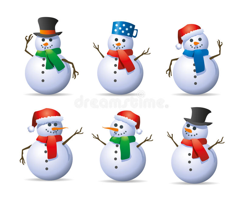 Snowman set vector illustration