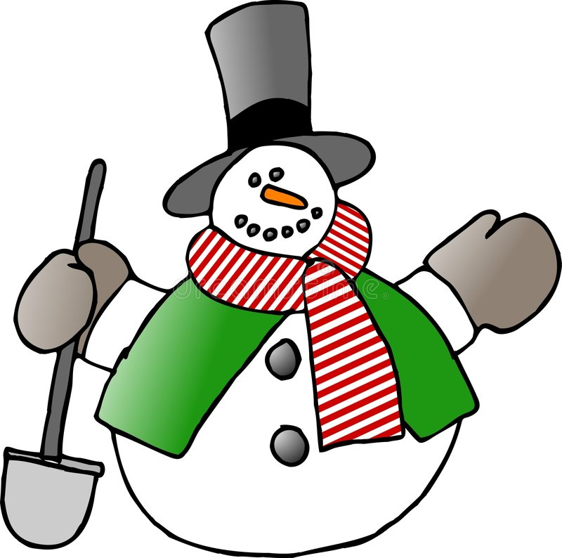 Snowman with a shovel stock illustration