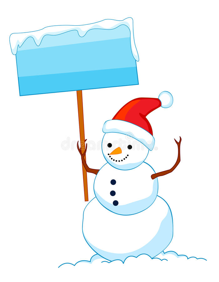 Download Snowman With Sign Board Royalty Free Stock Image - Image: 11224186