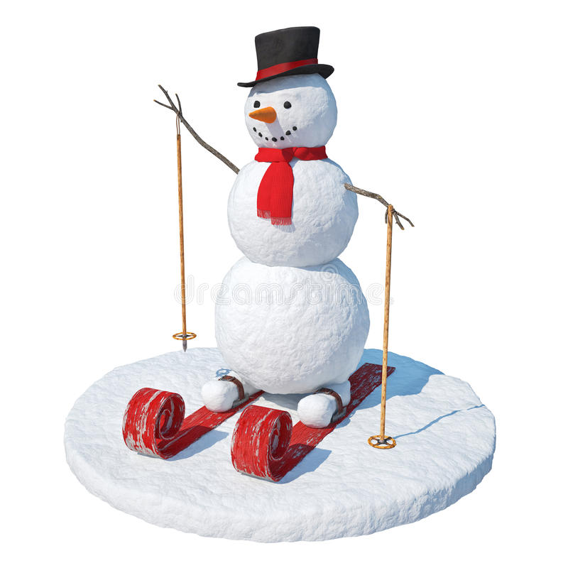 Snowman skier stock photo