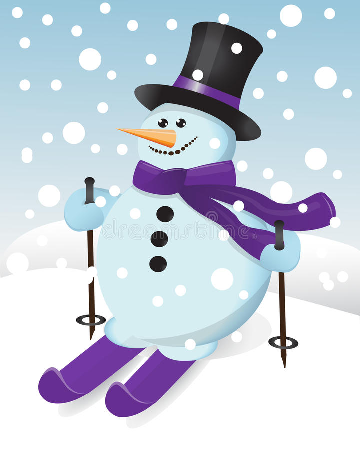 Download Snowman on skis stock vector. Image of happiness, holiday - 26067122