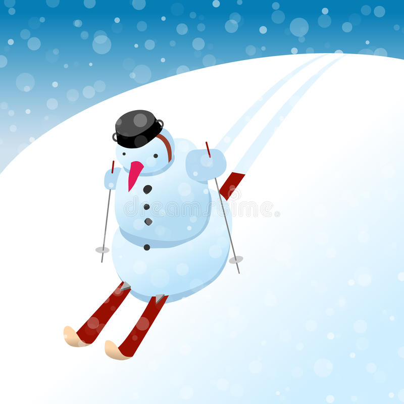 Download Snowman on skis stock vector. Image of backgrounds, snow - 26625989