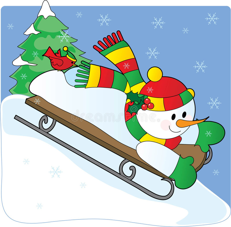 Download Snowman Sled stock vector. Image of seasonal, pine, smiling - 3656089