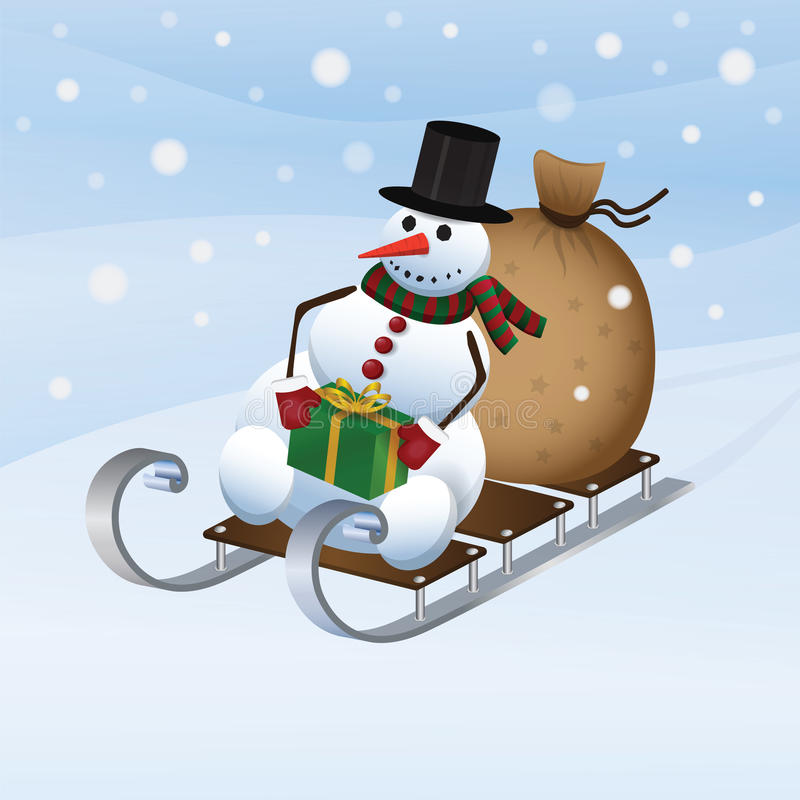 Snowman on a sled royalty free illustration