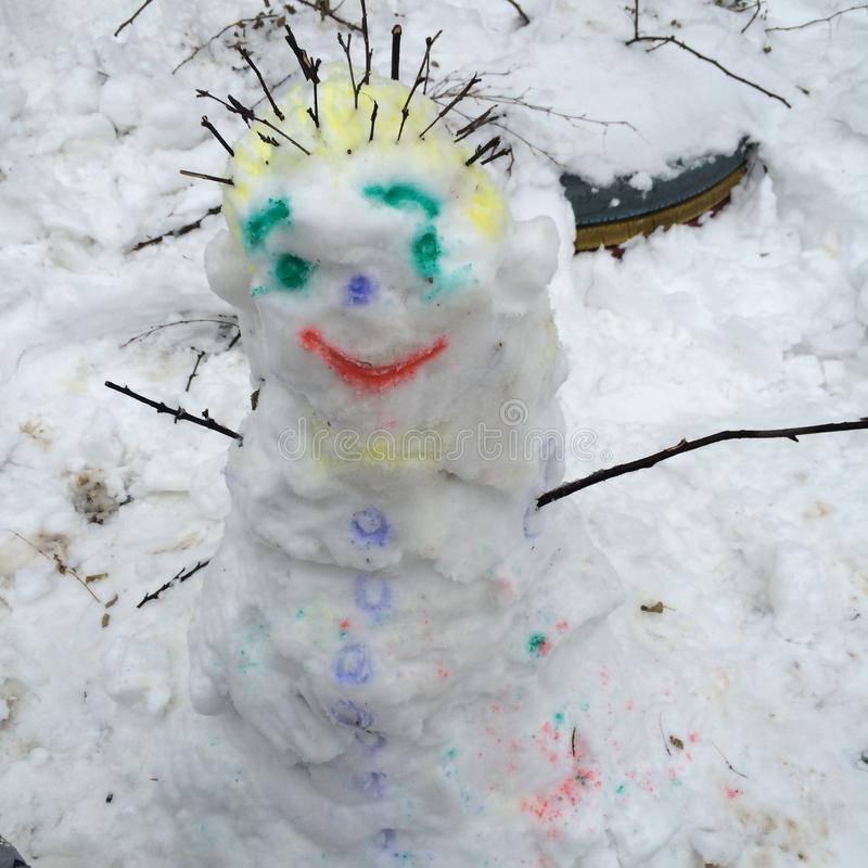 Snowman. Snow winter funny game stock image
