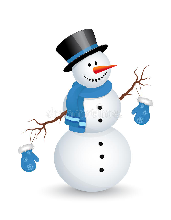 Snowman. On white background. Vector illustration