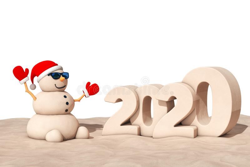 Snowman am sonnigen Strand mit Snowboard-Sign für 2020 3d Rendering lizenzfreie stockbilder
