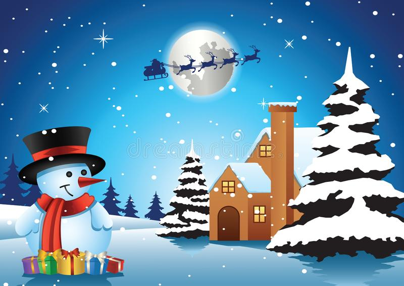 Snowman stand in front of lonely house on xmas night and santa f royalty free illustration