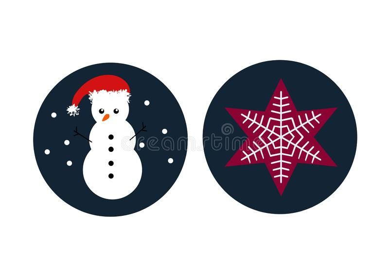 Snowman and star with snowflake inside, circle vector icon stock illustration
