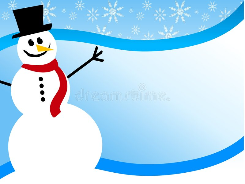 Snowman Swoosh Background. An illustration featuring a smiling snowman sitting in the snow against blue background swoosh with ample room for extra content vector illustration