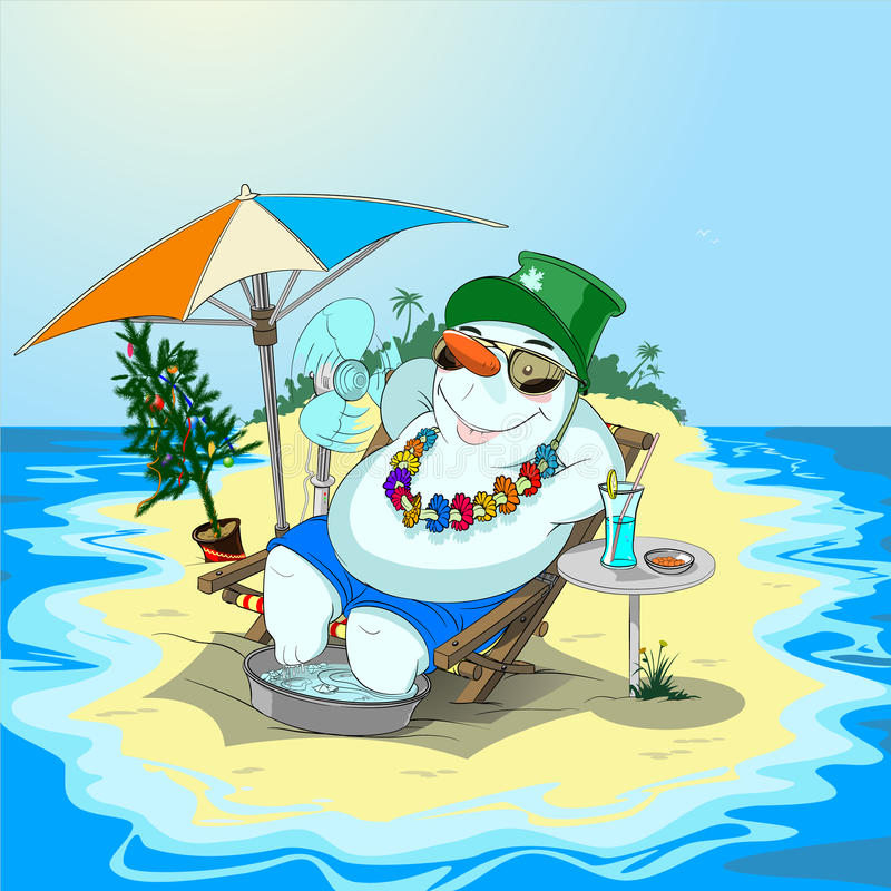 Snowman in vacation on sandy island royalty free stock photos