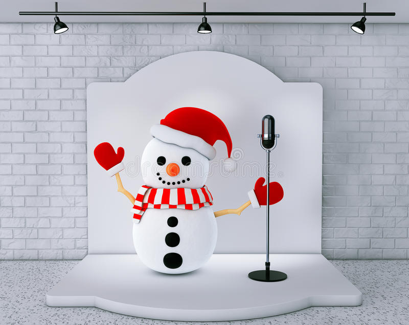 Snowman with Vintage Microphone standing on an stage. Extreme closeup vector illustration