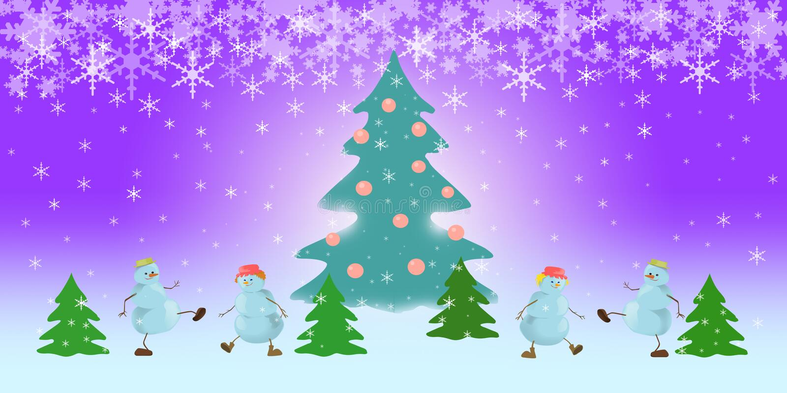 Snowman on the violet background royalty free stock image