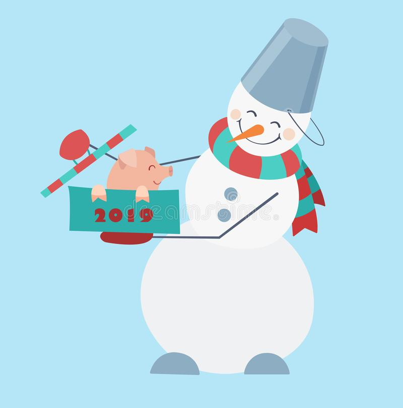Snowman wearing a striped scarf and a bucket on his head with a cute little pig sitting in the box. vector illustration