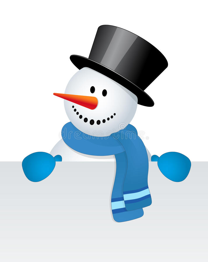 Snowman with white blank vector illustration