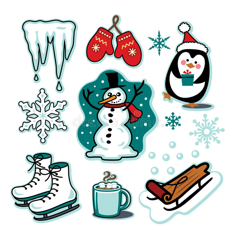 Snowman winter fun illustration set sled ice skates hot cocoa. This is a winter holiday collection featuring a snowman wearing a black stovepipe hat, and scarf stock illustration