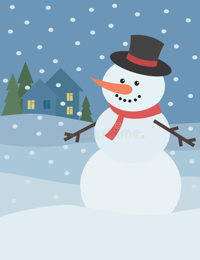 Snowman with winter landscape royalty free illustration