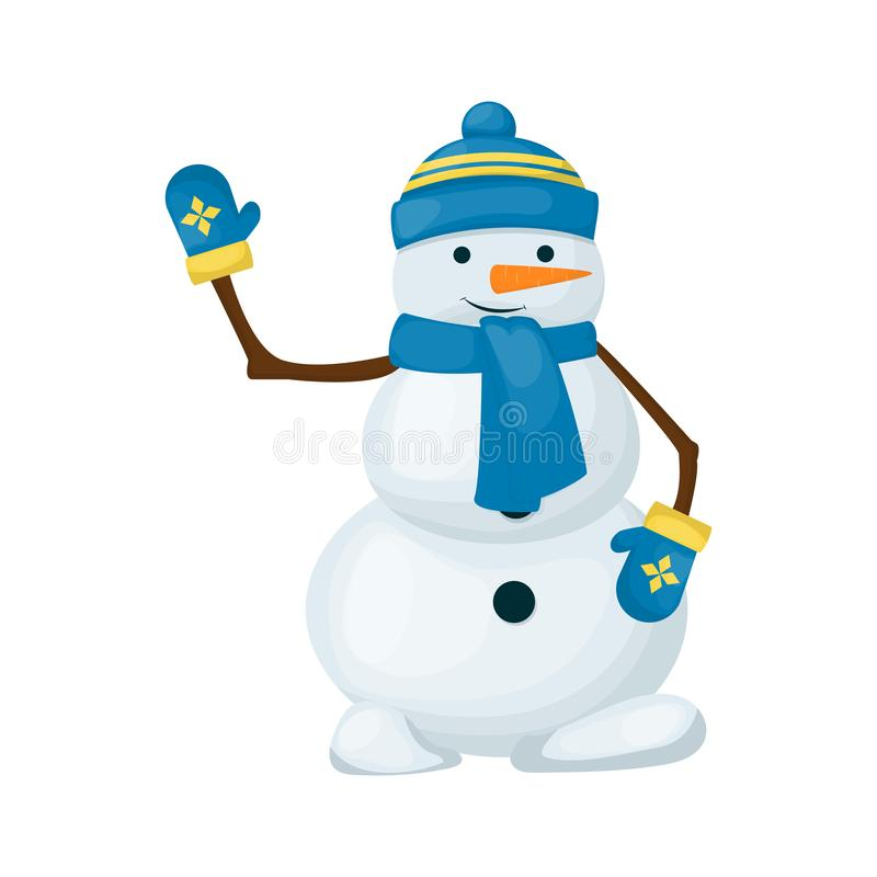 Free Snowman Winter Merry Christmas Character Isolated On White Background Vector Illustration. Cute Snow Man With Scarf Hat Royalty Free Stock Photos - 131046188