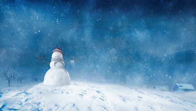 Snowman at Winter night stock illustration