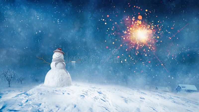 Snowman with at Winter night vector illustration