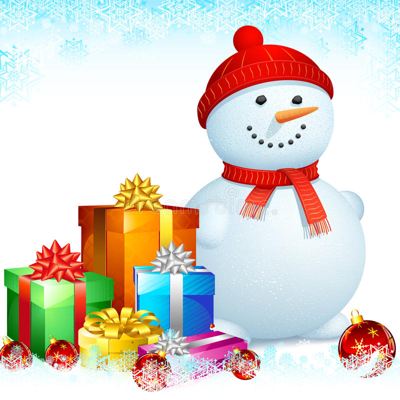 Free Snowman With Christmas Gifts Royalty Free Stock Photo - 26547615