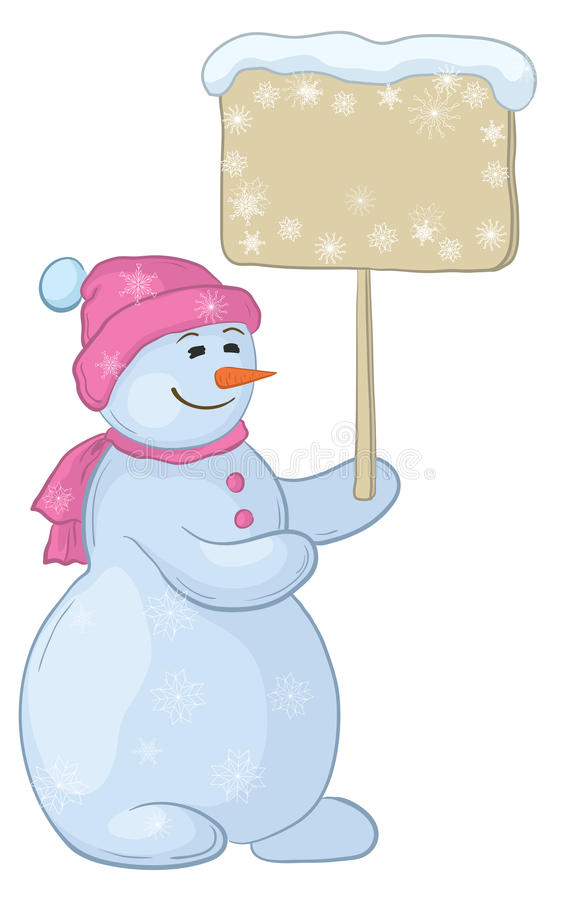 Download Snowman Woman With Sign Stock Photos - Image: 21618723