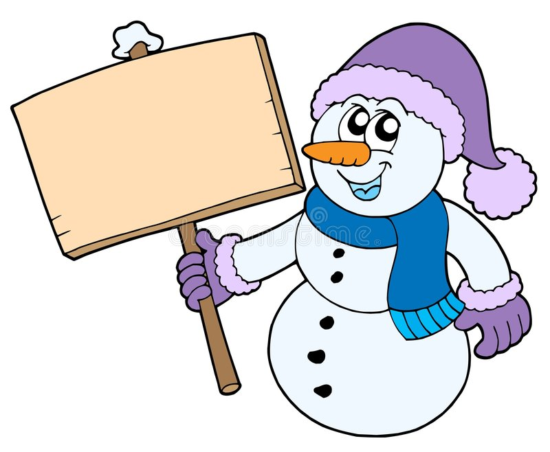 Snowman With Wooden Sign Royalty Free Stock Photo