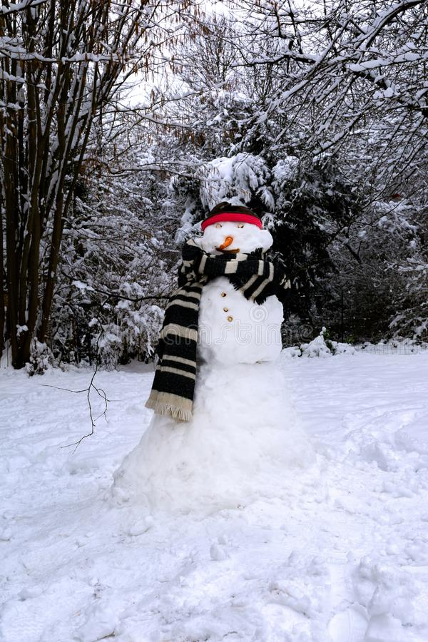 The snowman at the wool scarf stock photography