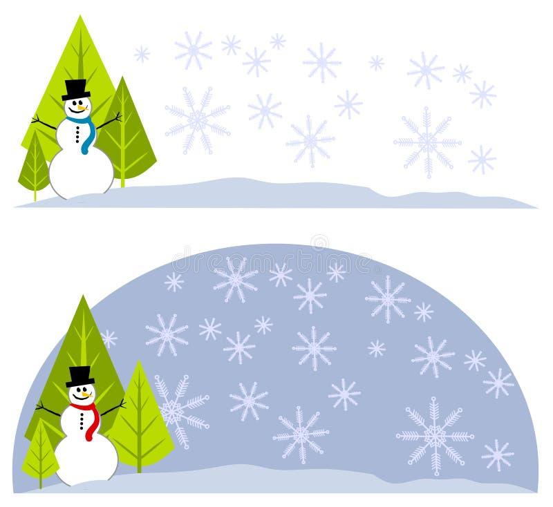 Snowman Xmas Tree Logos Labels stock illustration