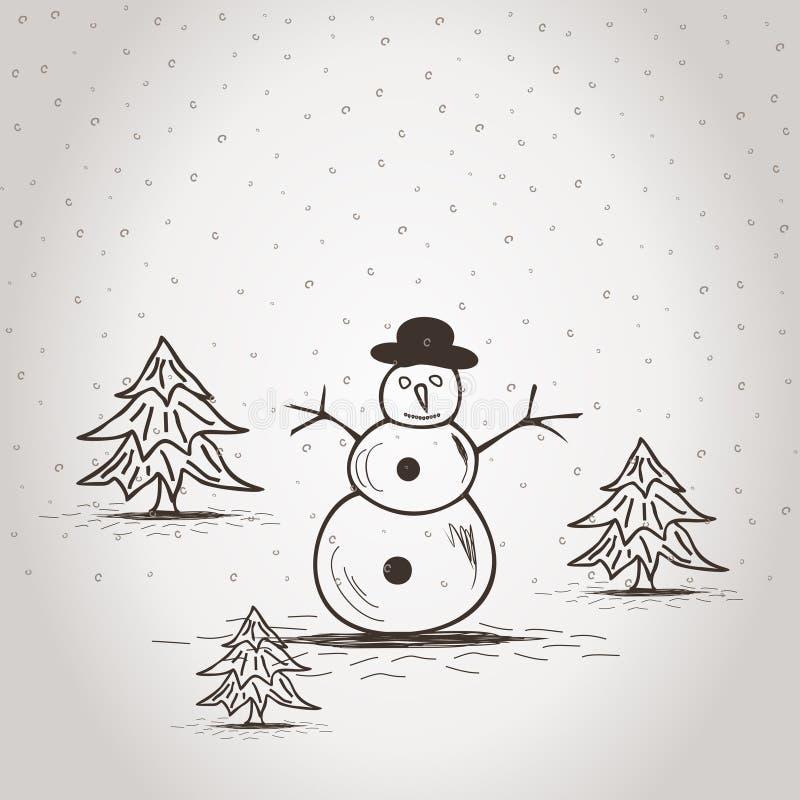 Snowman2 royalty-vrije illustratie