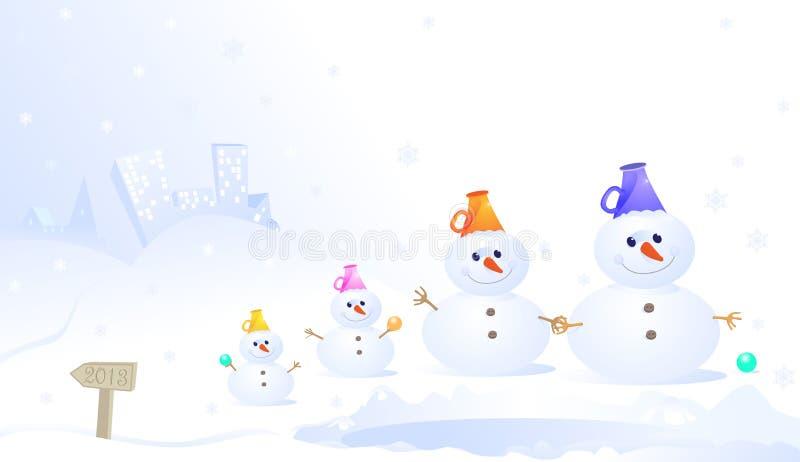 Snowmanfamilj stock illustrationer