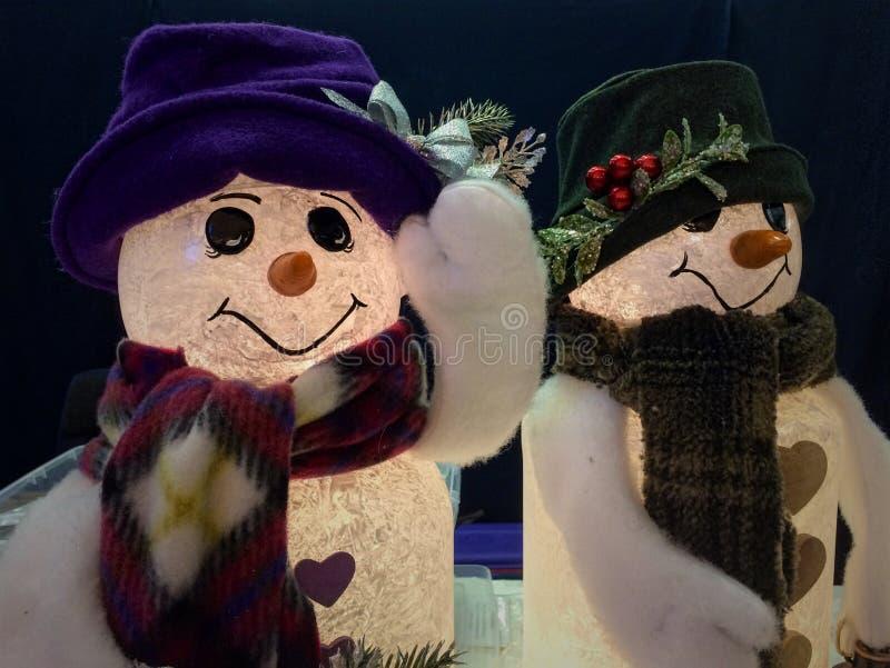 Snowmanpaar royalty-vrije stock foto's