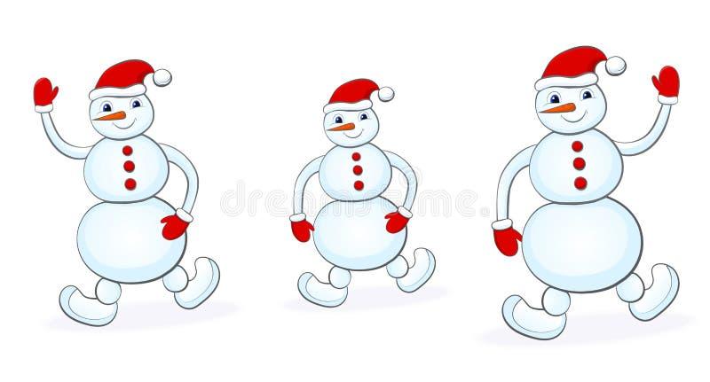 Snowmans που τίθεται στο άσπρο υπόβαθρο διανυσματική απεικόνιση