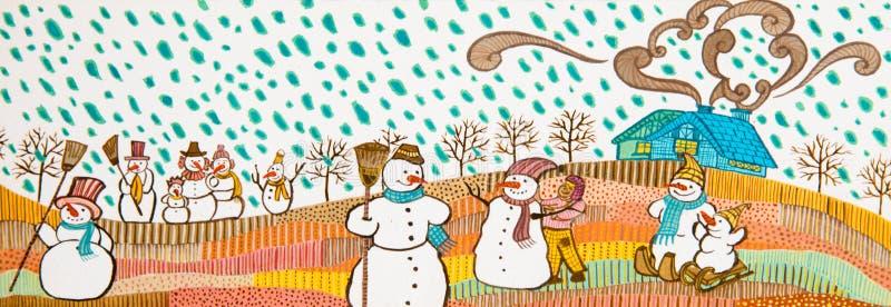 Snowmans i snowen. royaltyfria foton