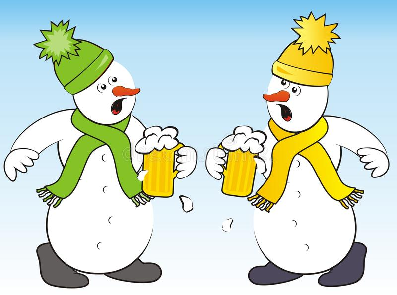 Snowmen and beer. Two snowmen drink a toast with beer. Humorous illustration stock illustration