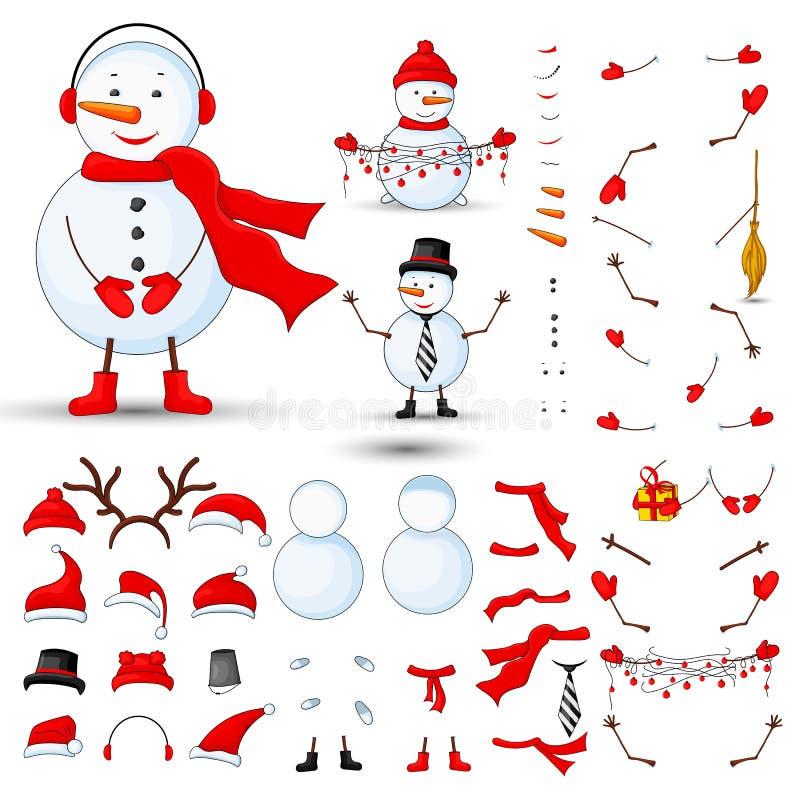 Snowmen body parts, transformer set on a white background stock illustration
