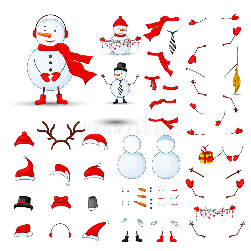 Snowmen body parts, transformer set on a white isolated background royalty free illustration