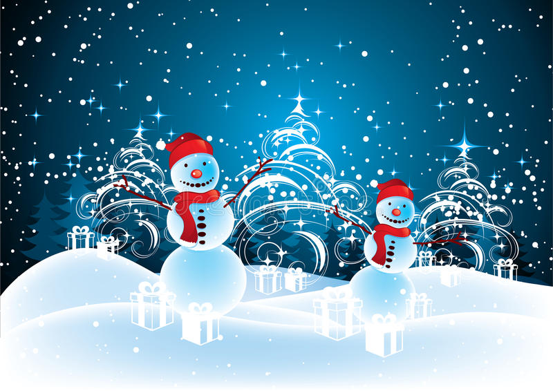 Snowmen in Christmas landscape stock illustration