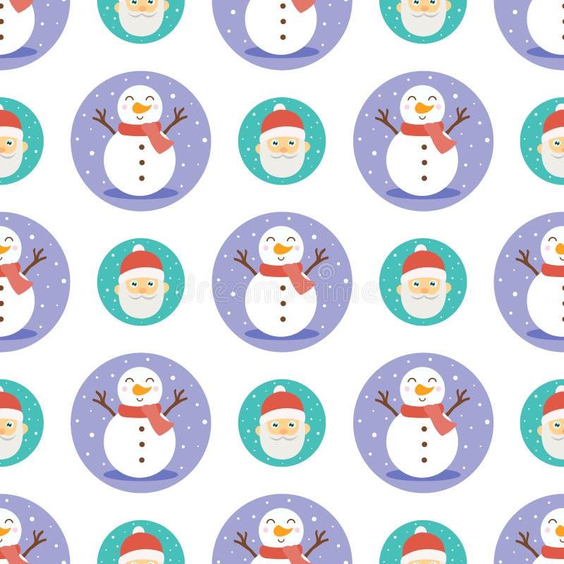 Snowmen en de kerstman naadloos ondergrond stock illustratie
