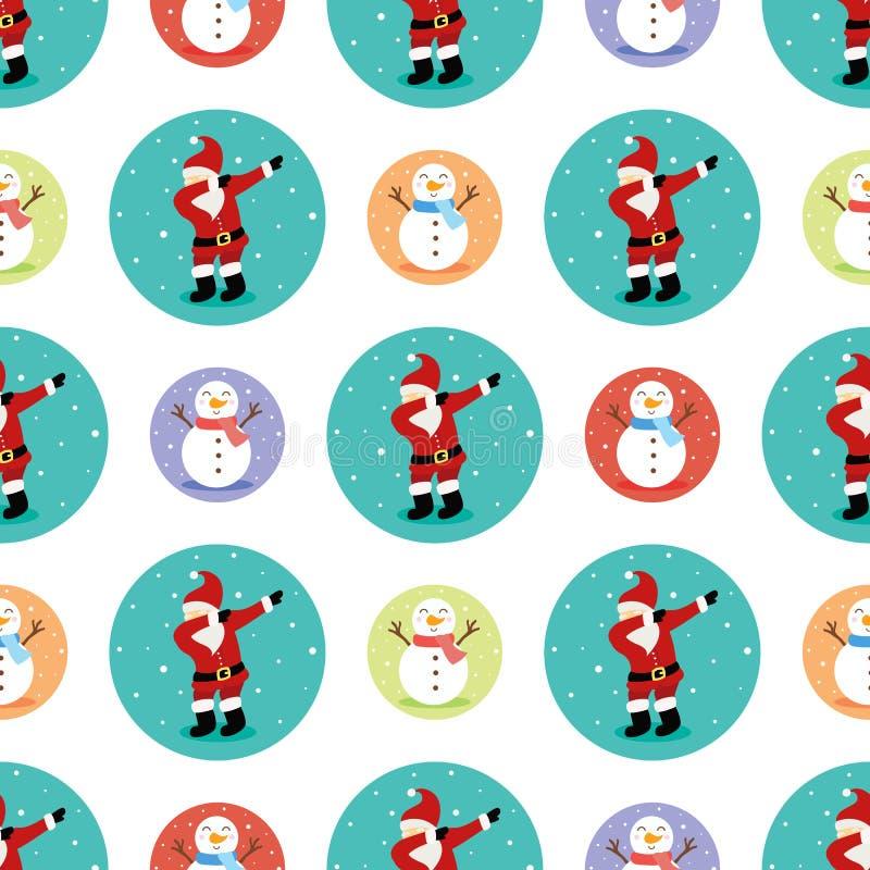 Snowmen en de kerstman naadloos ondergrond royalty-vrije illustratie