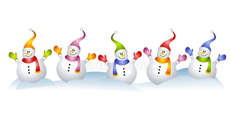 snowmen för snowman för konstgemgrupp royaltyfri illustrationer