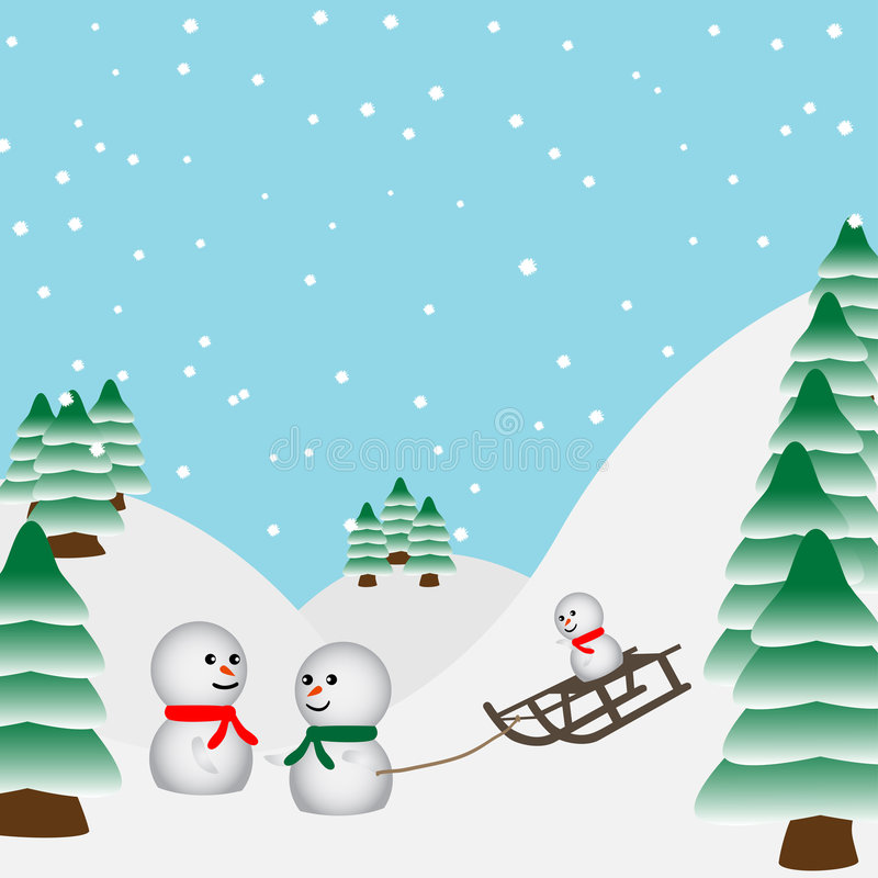 Free Snowmen Family Playing In The Royalty Free Stock Images - 2965609