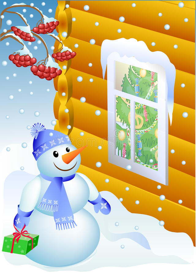 Download Snowmen With Gift (vector) Royalty Free Stock Photos - Image: 22248838